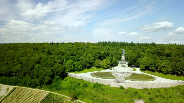 a drone flies by german unification monument in hessen germany - river rhine stock videos & royalty-free footage