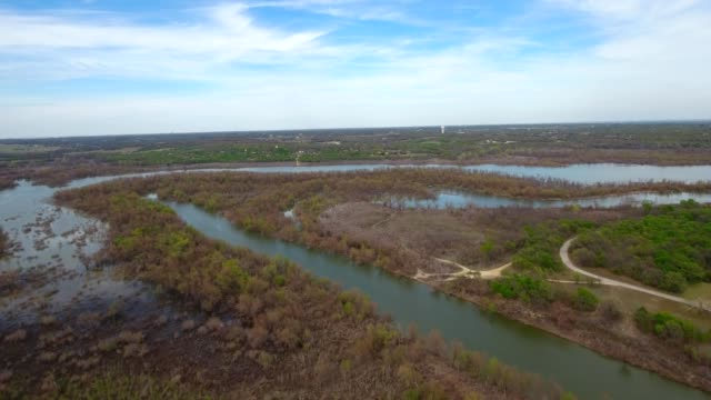 A Drone flies by Lake Grapevine in Roanoke Texas