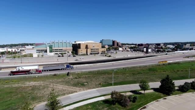 a drone flies by sioux city iowa - iowa stock videos & royalty-free footage