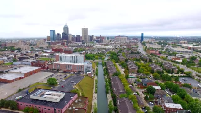 A drone flies over a canal ion Indianapolis Indiana