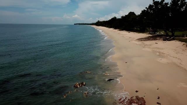 A drone flies over a coast of Desaru Beach in Kota Tinggi Johor Malaysia