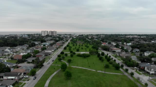 A drone flies over a park in New Orleans Louisiana