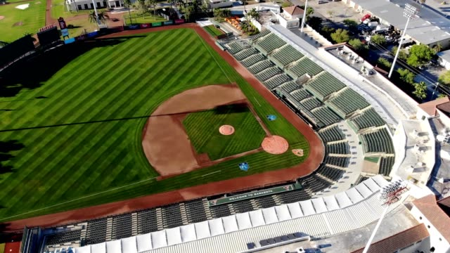 a drone flies over a spring training facility for the orioles in sarasota florida - spring training stock videos & royalty-free footage