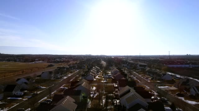 A drone flies over a suburban neighborhood in Shakopee Minnesota
