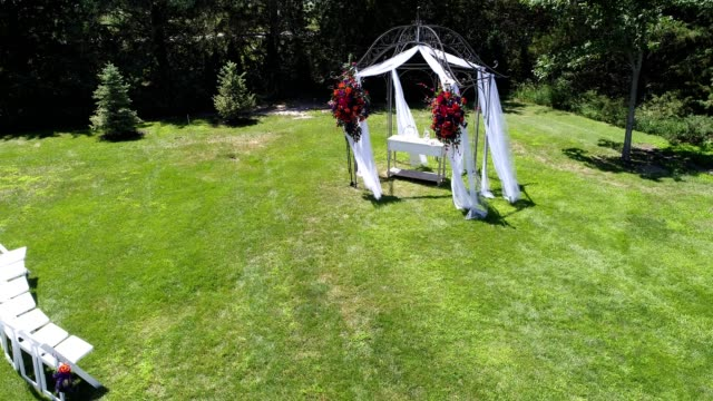 A drone flies over an empty wedding reception area in Minden Nebraska