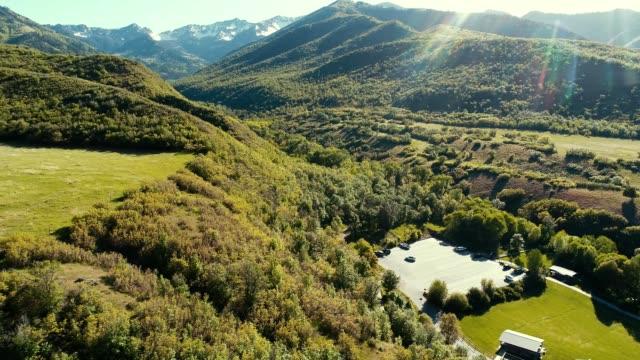 A drone flies over Big Springs Park in Provo Utah
