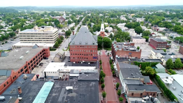 a drone flies over church street marketplace in burlington vermont - vermont stock videos & royalty-free footage