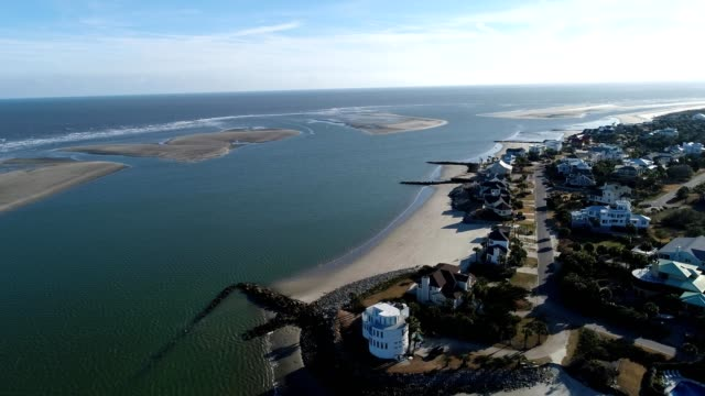 A drone flies over coastal homes in Charleston South Carolina