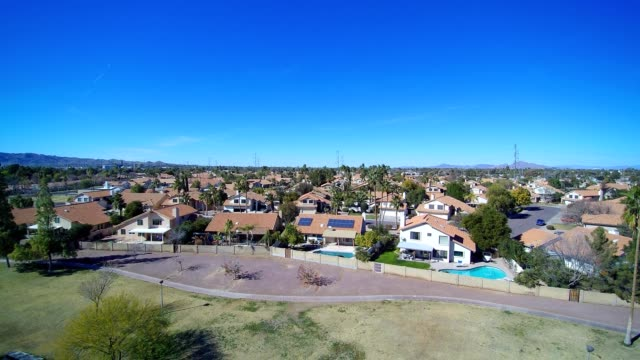 a drone flies over corbell park in tempe arizona - https stock videos & royalty-free footage