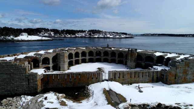 drone flies over fort popham in phippsburg maine - kennebec river stock videos & royalty-free footage