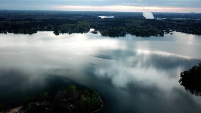 a drone flies over lake wylie outside charlotte north carolina - charlotte north carolina stock videos & royalty-free footage