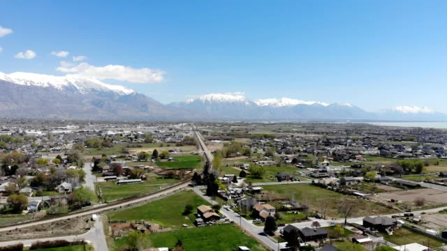 a drone flies over lehi city farm in lehi utah - lehi stock videos & royalty-free footage