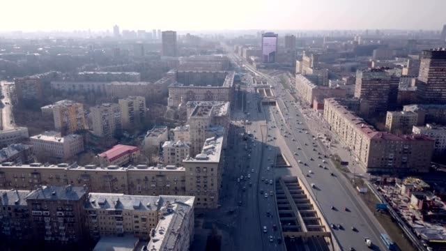 a drone flies over leningradskiy avenue in moscow russia - russia stock videos & royalty-free footage