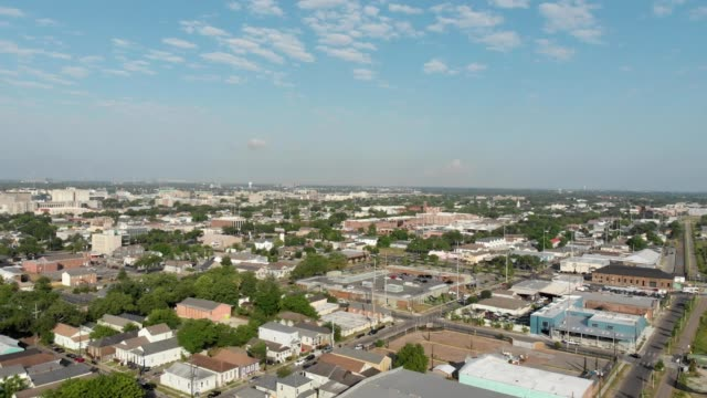 A drone flies over midcity New Orleans Louisiana