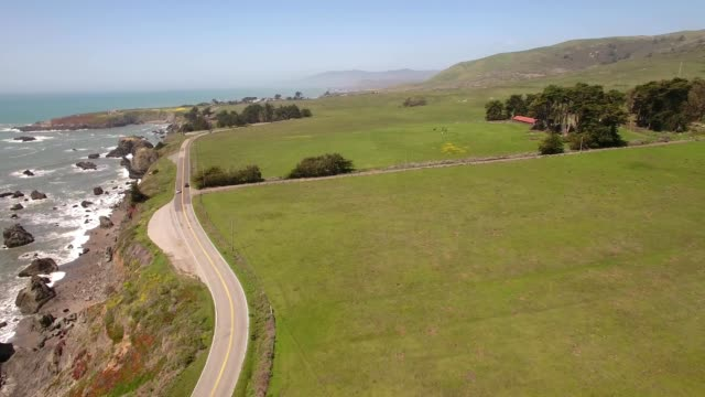 A drone flies over Pacific Coast Highway 1 in Jenner California