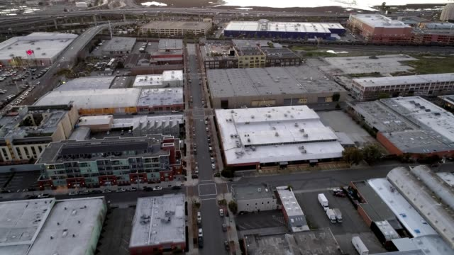a drone flies over park avenue in emeryville california - emeryville stock videos & royalty-free footage