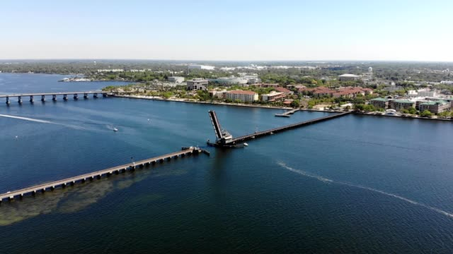 A Drone flies over the Bascule plate grinder bridge over the Manatee River in Bradenton Florida