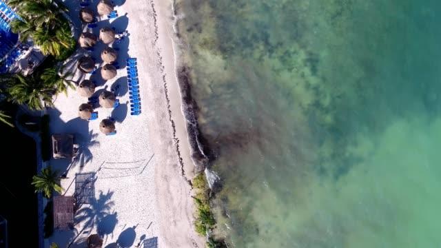 a drone flies overhead el cid resort in puerto morelos in quintana roo mexico - cancun stock videos & royalty-free footage