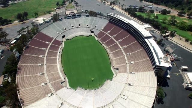 A drone flies overhead the Rose Bowl stadium in Pasadena California