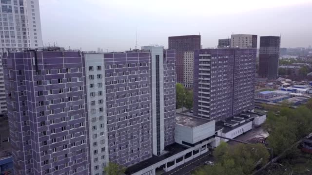 A drone flies past college student dormitories in Moscow Russia