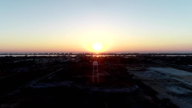 a drone flies towards a sunrise over lantana florida - temperate flower stock videos and b-roll footage