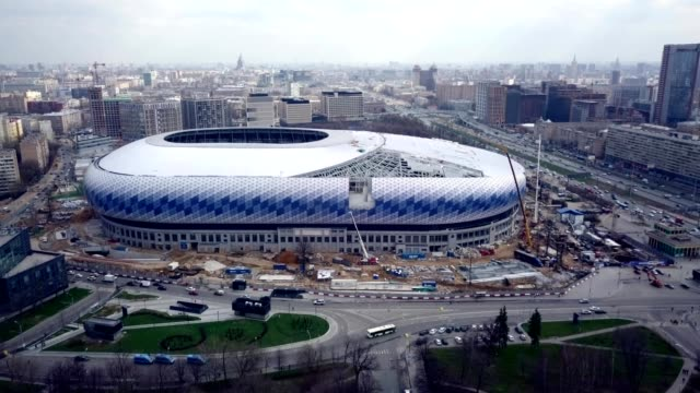 a drone flies towards dinamo stadium during restoration for the 2018 football world championship in moscow russia - fifa world cup stock videos & royalty-free footage