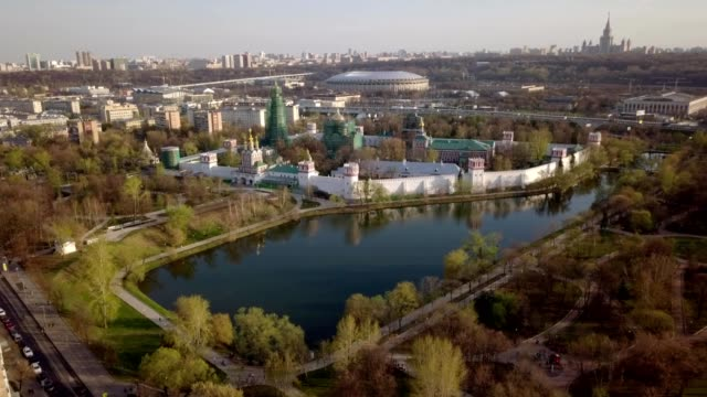 A drone flies towards the Novodevichy convent in Moscow Russia