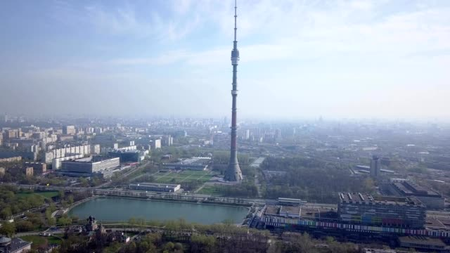 A drone flies towards the Ostankino Tower in Moscow Russia