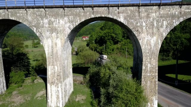 A drone flies under a railway bridge of Teliu in Prejmer Brașov County Romania