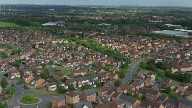 drone flight across thorpe astley, leicester - leicester stock videos & royalty-free footage