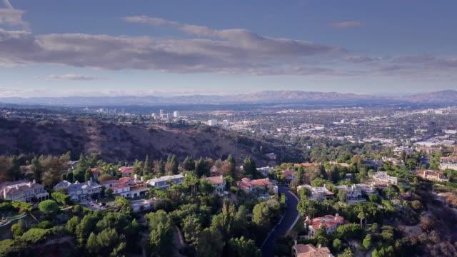 drone flight across wealthy neighborhood - sherman oaks stock videos & royalty-free footage