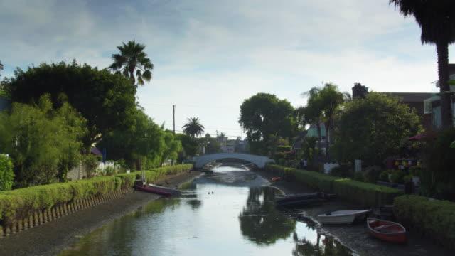 Drone Flight Along Canal in Venice, California