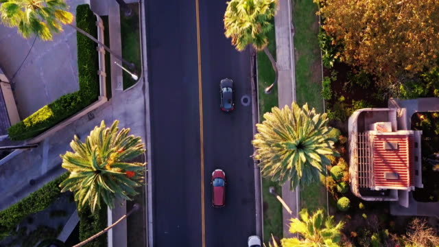 vidéos et rushes de vol de drones le long canon drive, beverly hills - comté de los angeles