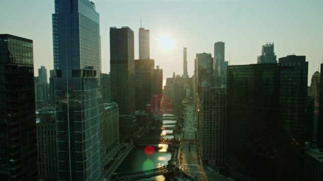 drone flight along skyscraper-lined chicago river at sunrise - willis tower stock videos & royalty-free footage