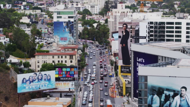 Drone Flight Along the Sunset Strip