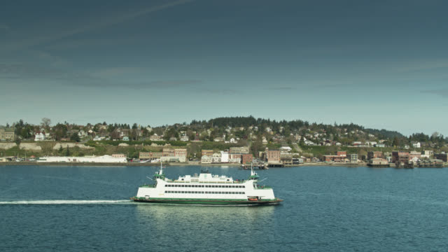 drone flight alongside ferry on puget sound - north pacific stock videos & royalty-free footage