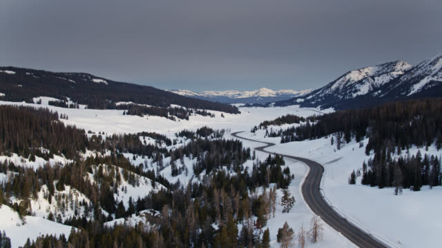 drone flight alongside road in bridger-teton national forest - grand teton stock videos & royalty-free footage