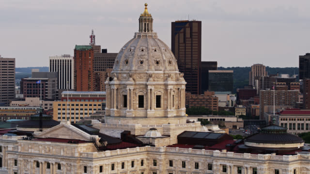 drone flight around minnesota state capitol in downtown st paul - minnesota stock videos & royalty-free footage