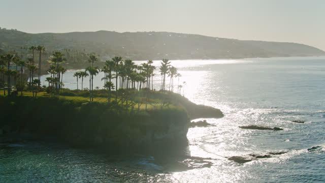 drone flight around twin points in laguna beach - aerial - laguna beach california stock videos & royalty-free footage