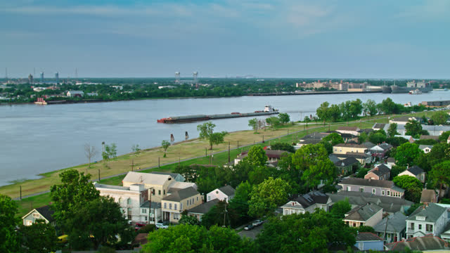 drone flight over algiers point towards mississippi - gulf coast states stock videos & royalty-free footage