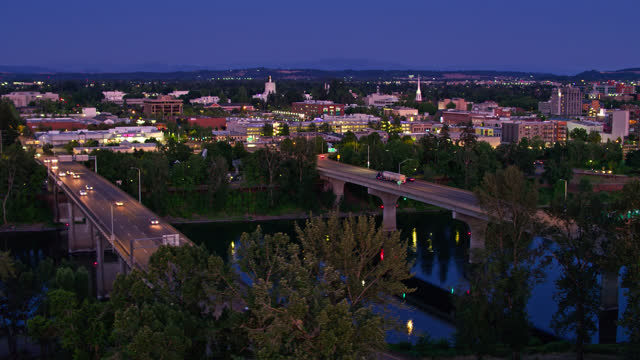 drone flight over bridges between downtown and west salem at night - oregon us state stock videos & royalty-free footage