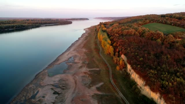 a drone flight over danube river - bulgaria stock videos & royalty-free footage