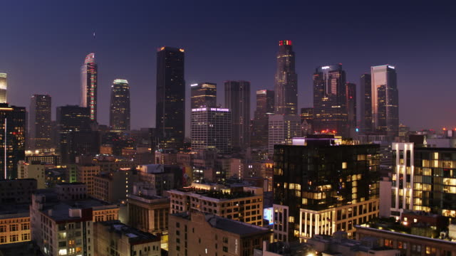 Drone Flight Over Downtown Los Angeles at Night