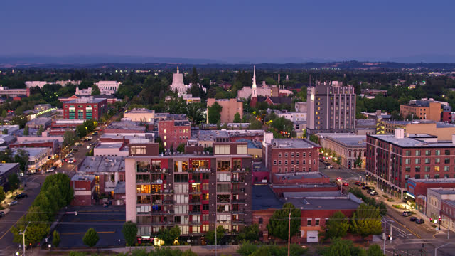 drone flight over downtown salem from willamette river to oregon state capitol - oregon us state stock videos & royalty-free footage