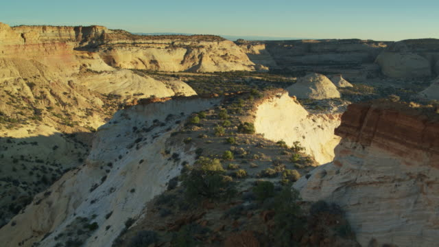 drone flight over eagle canyon, utah at sunset - san rafael swell stock videos and b-roll footage