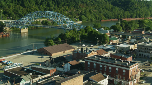 drone flight over elizabeth, pennsylvania towards monongahela river - pennsylvania stock videos & royalty-free footage