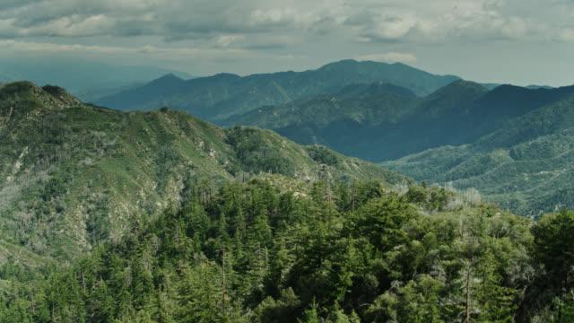 サンガブリエル山脈の森林斜面の上のドローン飛行 - エンジェルス国有林点の映像素材/bロール