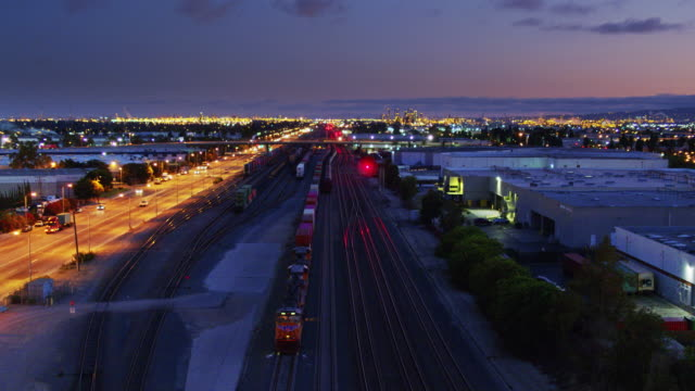 Drone Flight Over Freight Train on the Alameda Corridor, Los Angeles
