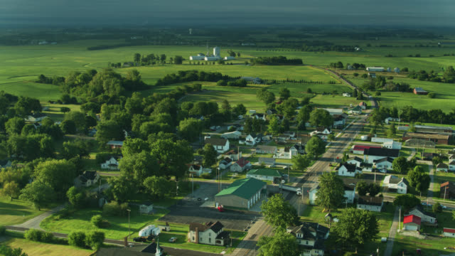 drone flight over mount sterling, ohio - town stock videos & royalty-free footage