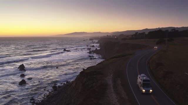 drone flight over pacific coast highway above north salmon creek beach, sonoma, california - northern california stock videos & royalty-free footage